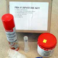 Furniture Treatment Kit - contains Boron Gel, Treatment Spray with a special hole nozzle and Classic Wax for hole filling.