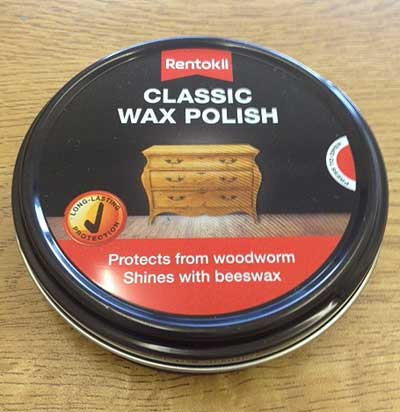 Classic Wax polish for blocking woodworm holes and killing any eggs laid in the holes