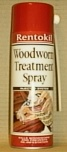 Spray can of woodworm treatment which includes a special flight hole injection nozzle.